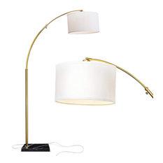 Brightech Logan - Contemporary Arc Floor Lamp w. Marble Base, Antique Brass