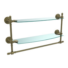 "18"" Double Glass Shelf With Towel Bar, Antique Brass"