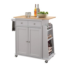 Kitchen Cart, Natural and Gray, Rubber Wood, MDF