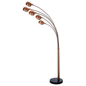 Giraffe 5-Light Floor Lamp, Sand Copper, Black Marble Base