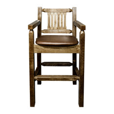 Montana Woodworks   Captainu0027s Bar Stool, Stain And Lacquer Finish,  Upholstered Seat, Saddle