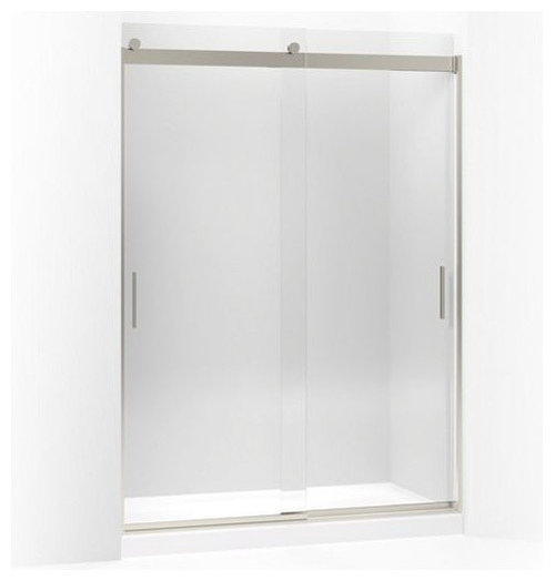 """Levity(R) sliding shower door, 82"""" H x 56-5/8 - 59-5/8"""" W, with 3/8"""" thick Cryst - Shower Doors"""