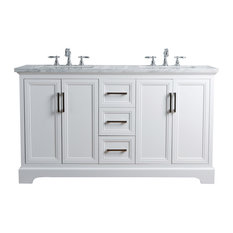 "Ariane 60"" Double Vanity Cabinet Dual Bathroom Sinks, White"