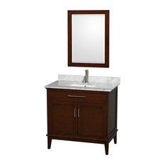 """Hatton Vanity, 24"""" Mirror, Dark Chestnut, 36"""", Square, White Carrera Marble"""