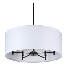 Walker 5-Arm Chandelier Drum In Oil Rubbed Bronze With Black & Silver Shade