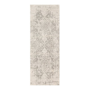 "Harput Traditional Black and Light Gray Area Rug, 2'7""x7'3"" Runner"