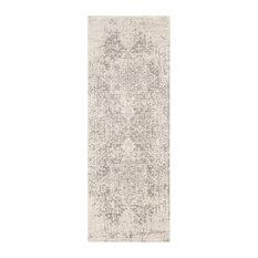 "Harput Traditional Black and Light Gray Area Rug, 2'7""x10'3"" Runner"
