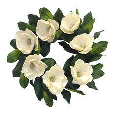 """Faux Magnolia Blossom Wreath, 24"""""""