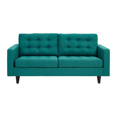 Teal Empress Upholstered Fabric Loveseat