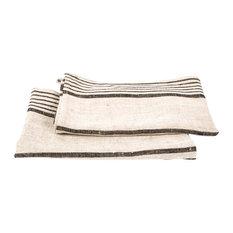 Provence Linen Prewashed Tea Towels, Set of 2, Black