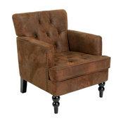 GDF Studio Madene Tufted Back Fabric Club Chair, Brown