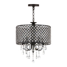 "Safavieh Axel 5-Light Black 17"" Diameter Adjustable Chandelier"