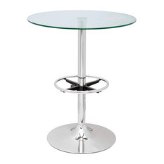 Chintaly Imports Round Glass Top Pub Table With Chrome Finish PUB TABLE-30
