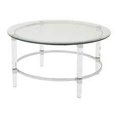 GDF Studio Lynn Round Tempered Glass Coffee Table With Acrylic and Iron Accents