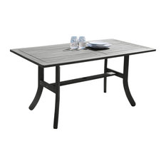 Renaissance Outdoor Hand-Scraped Wood Rectangular Dining Table With Curvy Legs