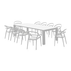 Compamia Mila Extendable Outdoor Dining 11-Piece Set, White