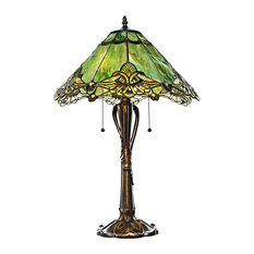 "24.75"" Tiffany Style Stained Glass Victorian Crystal Lace Table Lamp, Green"