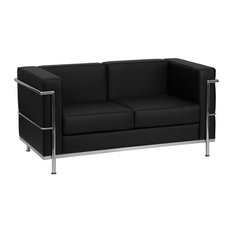 Loveseat With Chrome Exposed Frame Black 32x55