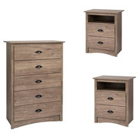 3 Piece Set with 2 Nightstands and Chest in Drifted Gray Finish