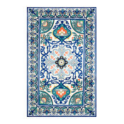 Modern Persian Printed Floral Rug, Blue, 5'x8'