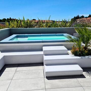 Spa Space® sul terrazzo ad Arese Milano, piccola piscina tutta personalizzata