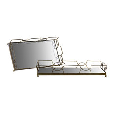 Rectangle Metal Tray with Mirror and Handles, Metallic Gold Finish, Set of 2