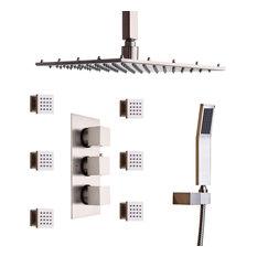 16 Inches Brushed Nickel Rain Shower Head & 6 Body Sprays & Shower System