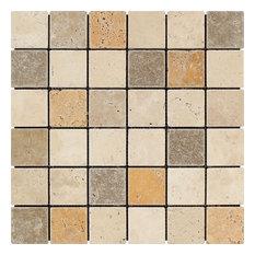 Mixed Travertine Mosaic, Ivory, Noce, Gold, 2x2, Tumbled Mosaic Tiles, 10 Sqft