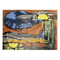 """Mozaico - Abstract Marble Mosaic, Landscape Scenery, 39""""x53"""" - Tile Murals"""