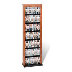 Prepac Furniture - Slim Barrister Tower, Cherry/Black - Media Racks and Towers