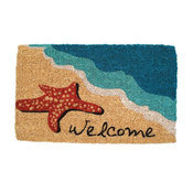 Starfish Welcome Mid-Thickness Hand Woven Coir Doormat, 18 x 30 Inch