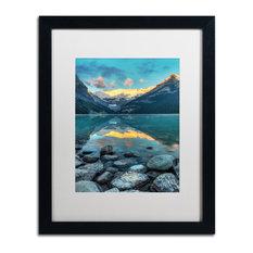 Pierre Leclerc 'Lake Louise Sunrise' Matted Art, Black Frame, White, 20x16