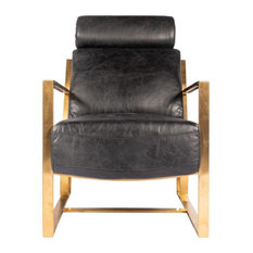 24.5-inch W Club Chair Distressed Top Grain Leather Gold Finished Stainless Steel