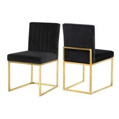 Giselle Velvet Dining Chairs, Set of 2, Black, Gold Base