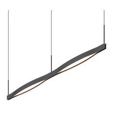 Ola™ Double Linear LED Pendant, Satin Black