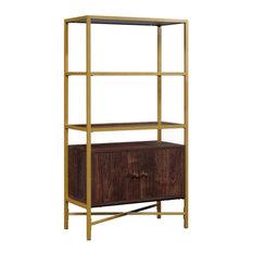 Sauder Harper Heights 3 Glass Shelf Bookcase In Rich Walnut And Gold