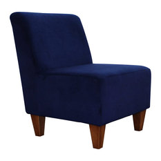 Armless Chair, Microfiber Polyester Upholstery, Traditional Design, Navy Blue