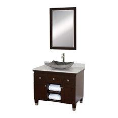 """Premiere 36"""" Espresso Single Vanity, White Carrera Marble Top, 24"""" Mirror"""
