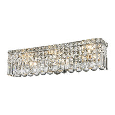 Contemporary 6-Light Chrome Finish Crystal String Wall Vanity Light