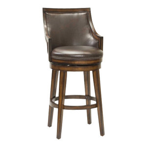 Napa Valley Swivel Counter Stool Brown Leather Dark