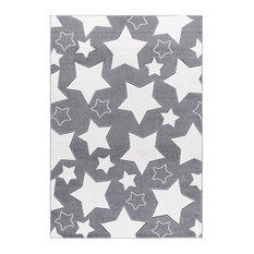 Starry Sky Children's Rug, Silver and White, 120x180 cm