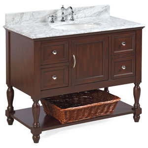 "Beverly Bath Vanity, Base: Chocolate, 42"", Top: Carrara Marble"