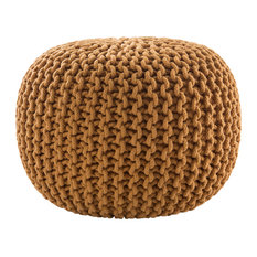 Jaipur Living Spectrum Pouf Textured Yellow Round Pouf