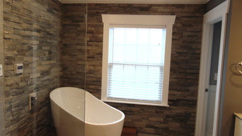 Custom Bathroom with Soaker Tub and Stacked Stone Walls