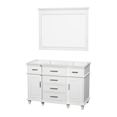 """Single Vanity, White With No Countertop and No Sink and 44"""" Mirror, 47"""""""