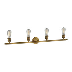 "Innovations 4-LT Bare Bulb 42"" Adjustable Bathroom Fixture - Brushed Brass"