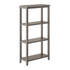 Contemporary Bookcase 3 Open Fixed Shelves Vertical Design Washed Grey