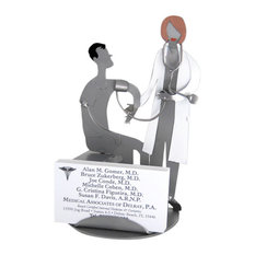 Female Doctor With Patient Business Card Holder and Metal Figurine
