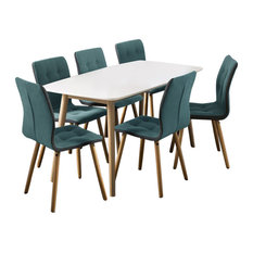 Nagane Extending Table And Fridi Chairs, Light Petrol Fabric, 6 Chairs