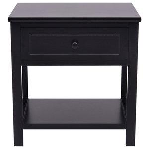 VidaXL Bedside Cabinet, Wood Black